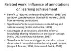related work influence of annotations on learning achievement2