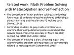 related work math problem solving with metacognition and self reflection