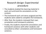research design experimental procedure