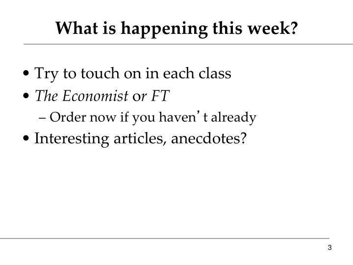 What is happening this week