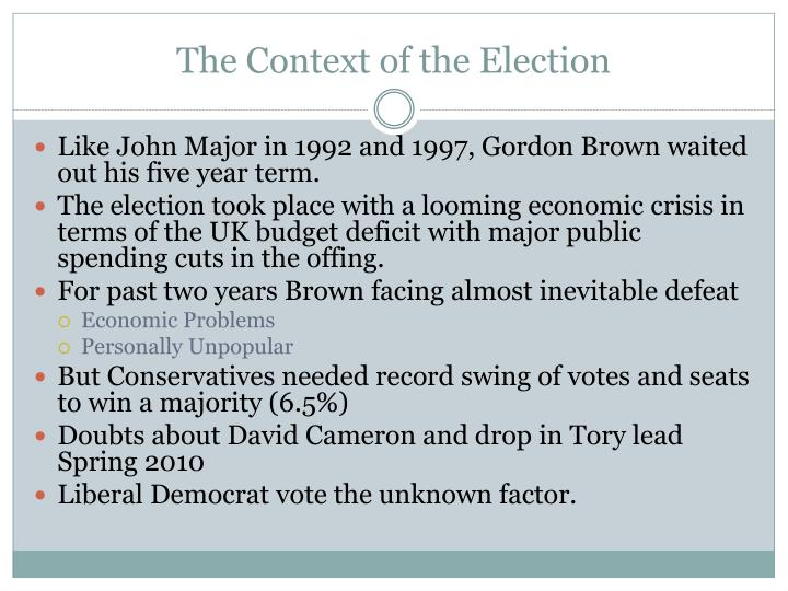 The context of the election