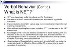verbal behavior cont d what is net