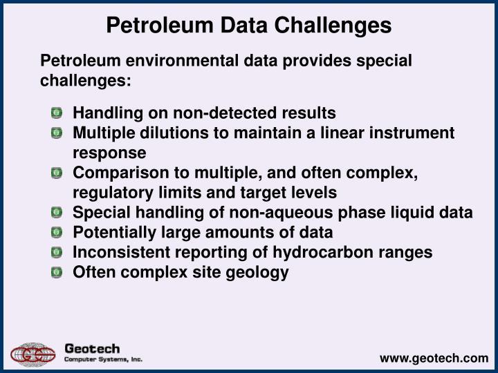 Petroleum Data Challenges