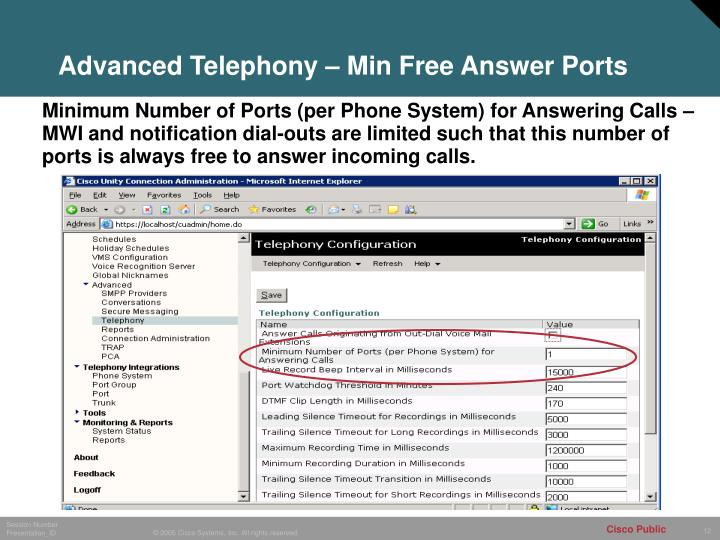 Advanced Telephony – Min Free Answer Ports