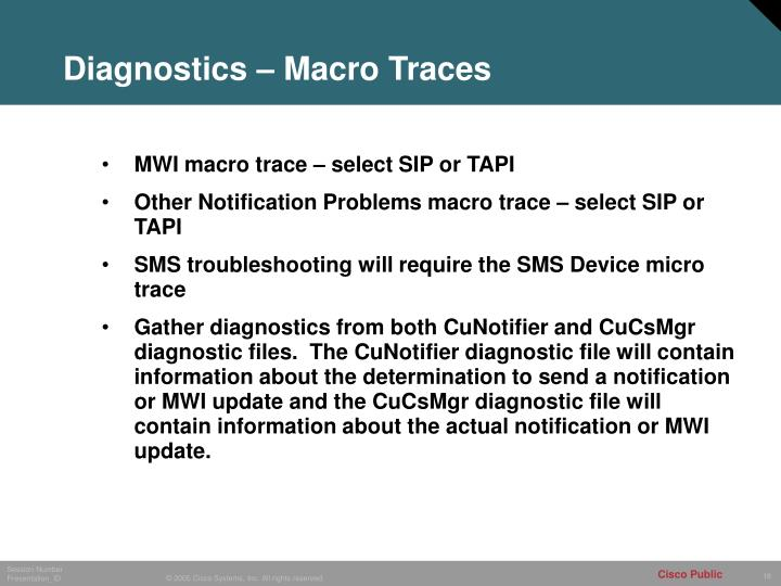 Diagnostics – Macro Traces