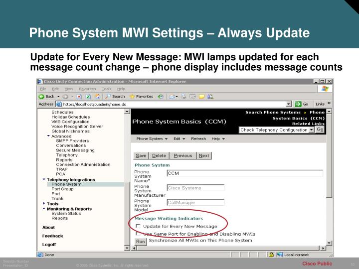 Phone System MWI Settings – Always Update