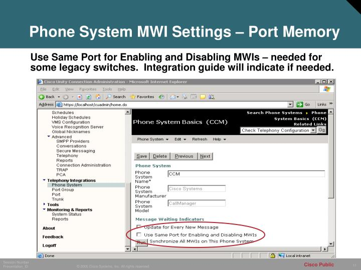 Phone System MWI Settings – Port Memory