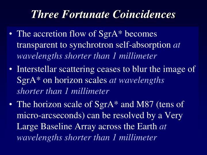 Three Fortunate Coincidences