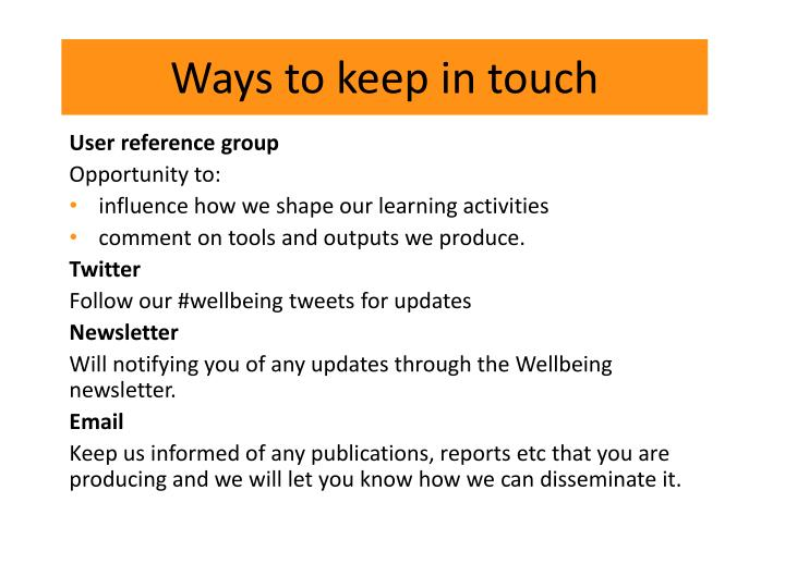 Ways to keep in touch