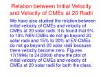 relation between initial velocity and velocity of cmes at 20 radii