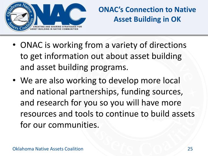 ONAC's Connection to Native Asset Building in OK