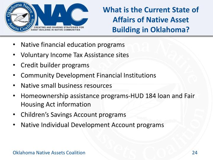 What is the Current State of Affairs of Native Asset Building in Oklahoma?