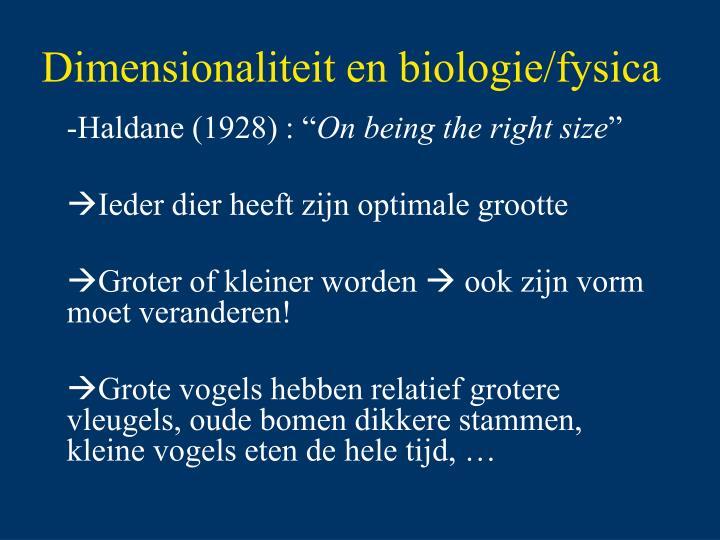 Dimensionaliteit en biologie/fysica