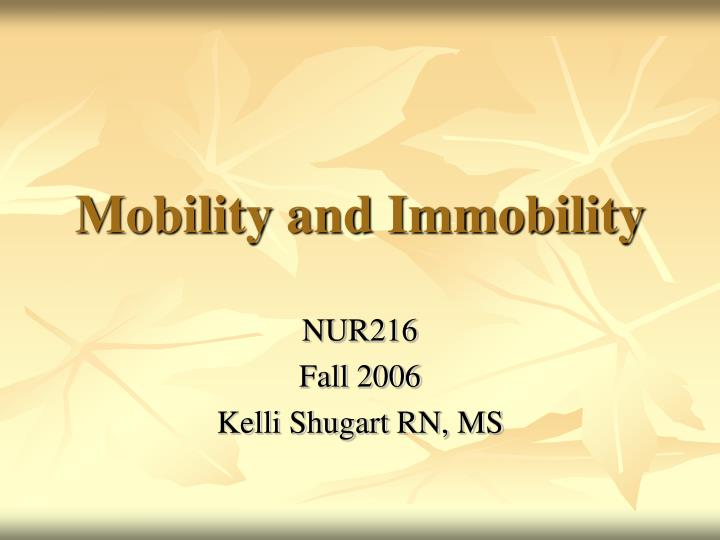 mobility and immobility n.