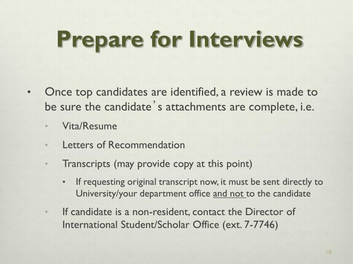 Prepare for Interviews