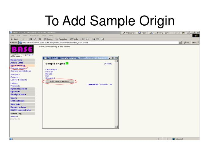 To Add Sample Origin