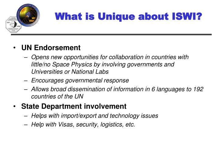 What is Unique about ISWI?