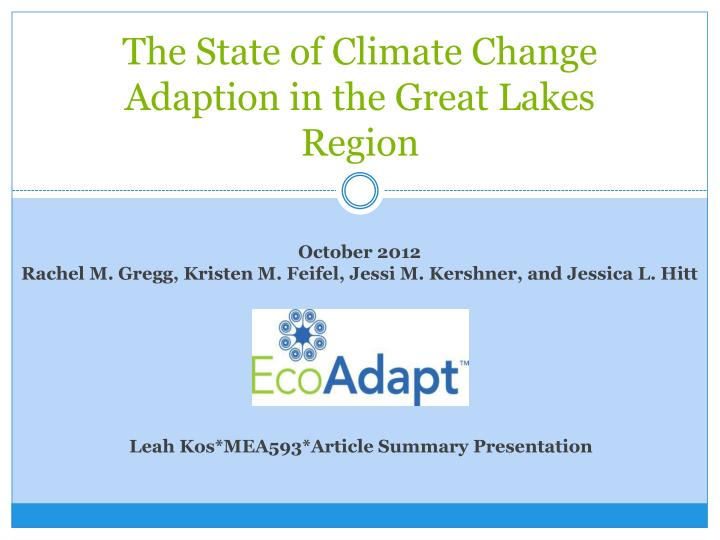 the state of climate change adaption in the great lakes region n.