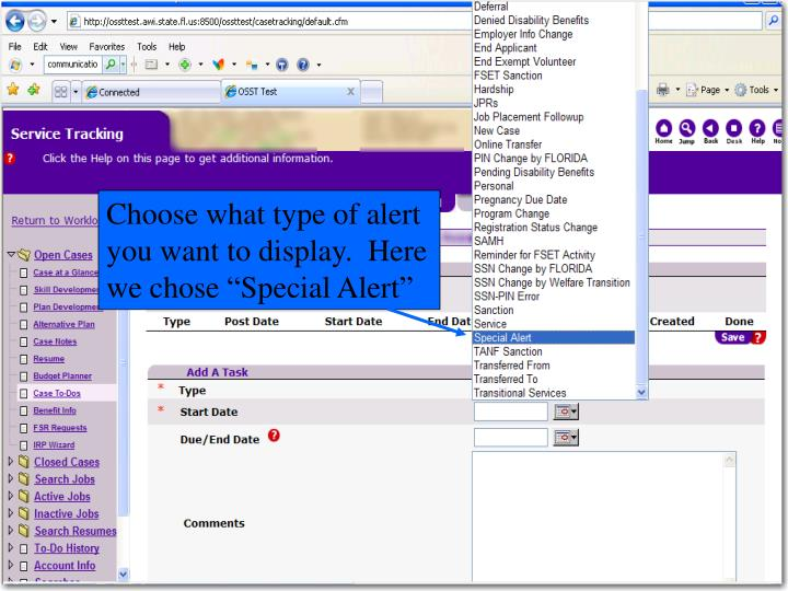 """Choose what type of alert you want to display.  Here we chose """"Special Alert"""""""