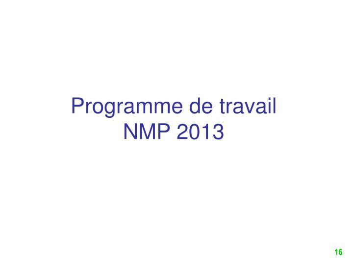 Programme de travail NMP 2013