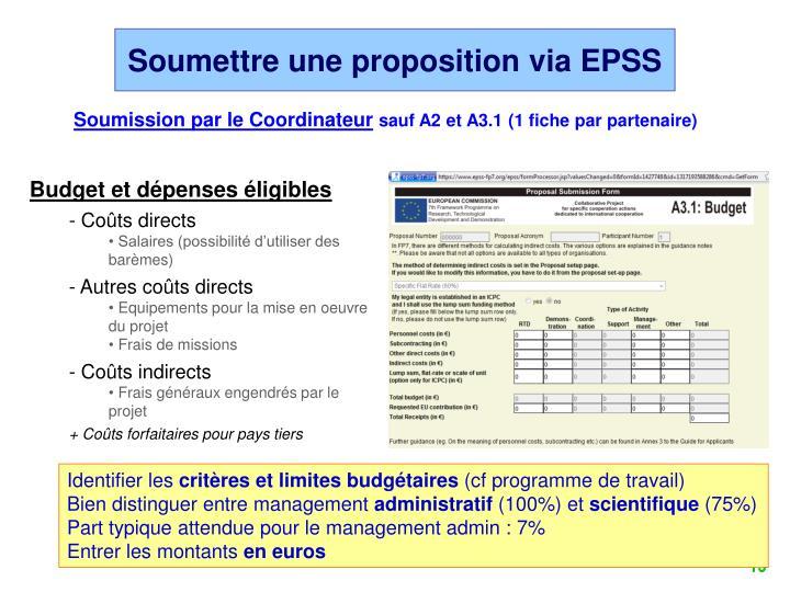 Soumettre une proposition via EPSS