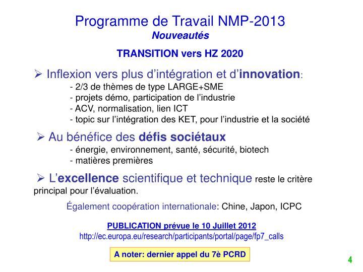 Programme de Travail NMP-2013