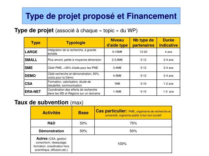 Type de projet proposé et Financement