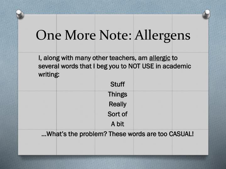 One More Note: Allergens
