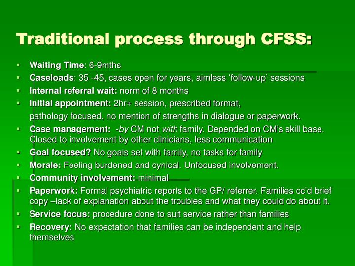 Traditional process through CFSS: