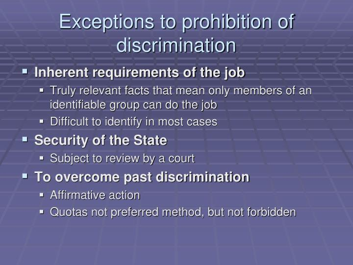 Exceptions to prohibition of discrimination