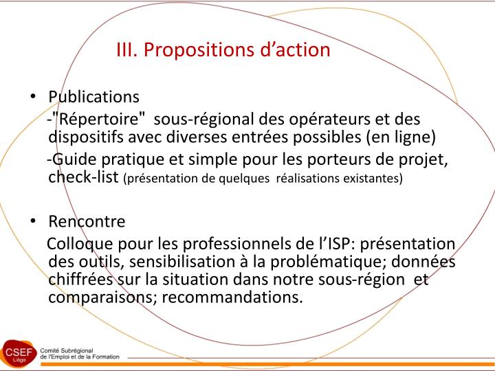 III. Propositions d'action