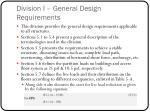 division i general design requirements