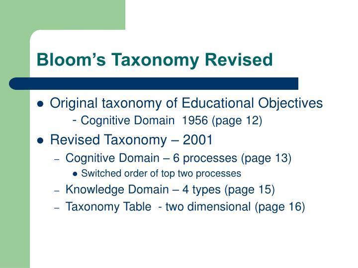 Bloom's Taxonomy Revised