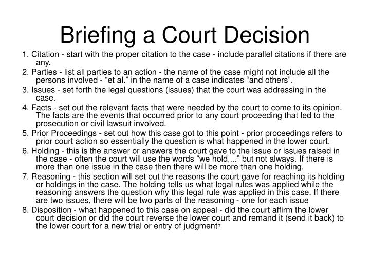Briefing a Court Decision