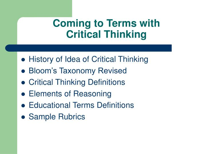 Coming to terms with critical thinking