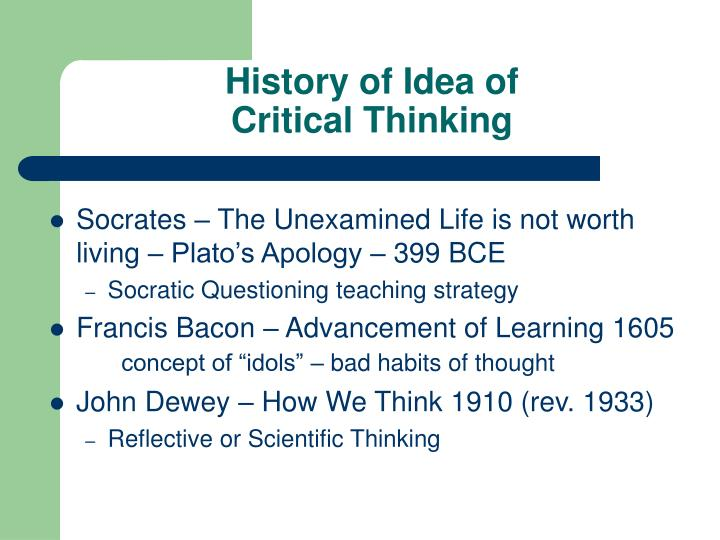 History of idea of critical thinking