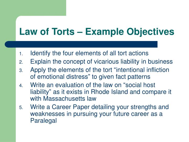 Law of Torts – Example Objectives