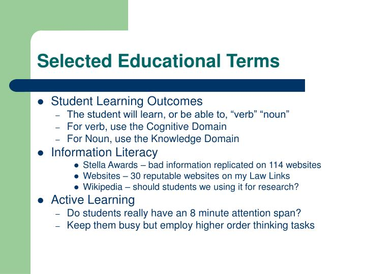 Selected Educational Terms
