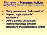 examples of managers actions regarding parents associations