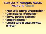 examples of managers actions regarding parents