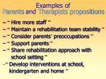 examples of parents and therapists propositions