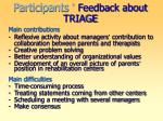 participants feedback about triage