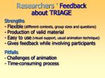 researchers feedback about triage