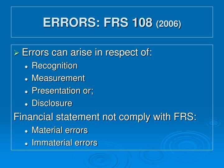 Errors frs 108 2006