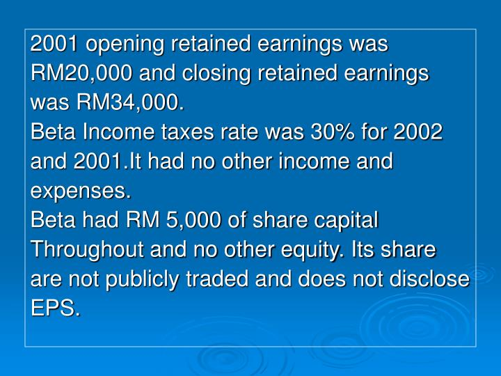 2001 opening retained earnings was