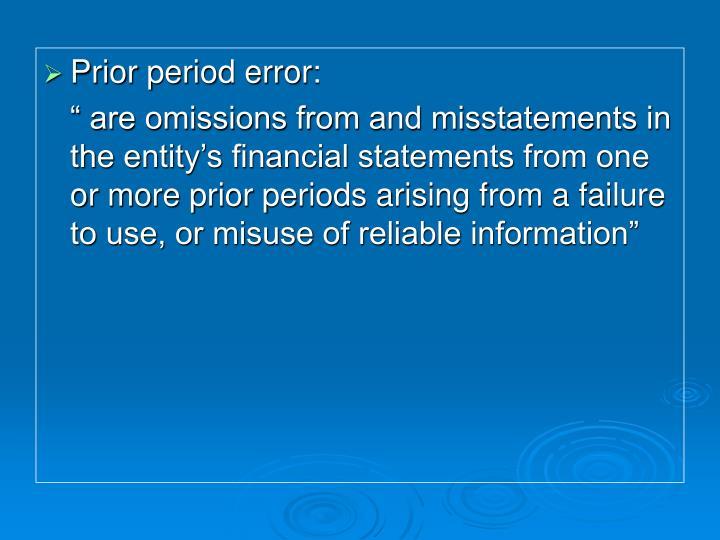 Prior period error: