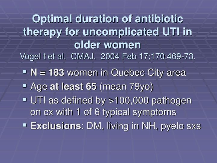 Optimal duration of antibiotic therapy for uncomplicated UTI in older women