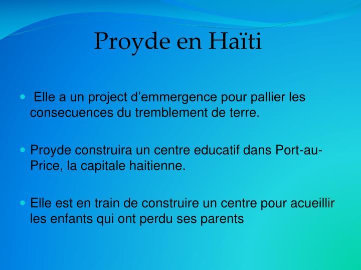 Proyde en Haïti