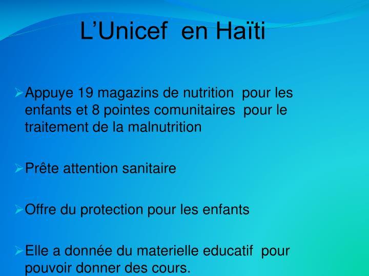 L'Unicef  en Haïti