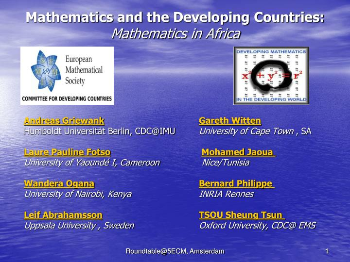 mathematics and the developing countries mathematics in africa n.